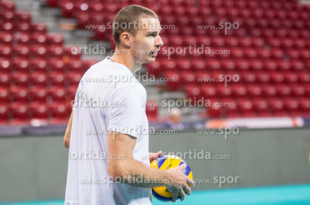 Alen Pajenk #2 of Slovenia during practice session of Slovenian team in the morning of Final day of  2015 CEV Volleyball European Championship - Men, on October 18, 2015 in Arena Armeec, Sofia, Bulgaria. Photo by Vid Ponikvar / Sportida