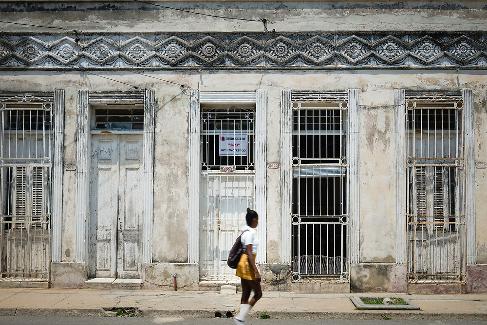 Facade of old house in Cienfuegos, Cuba