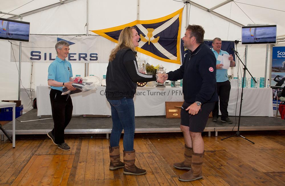 Silvers Marine Scottish Series 2017<br /> Tarbert Loch Fyne - Sailing<br /> <br /> Prizegiving Eala of Rhu, J McGarry<br /> <br /> Credit: Marc Turner / CCC