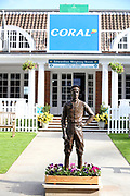 The Lester Piggott statue in front of the Old Edwardian Weighing Room displaying Coral branding during the York Coral Sprint Trophy meeting at York Racecourse, York, United Kingdom on 12 October 2019.