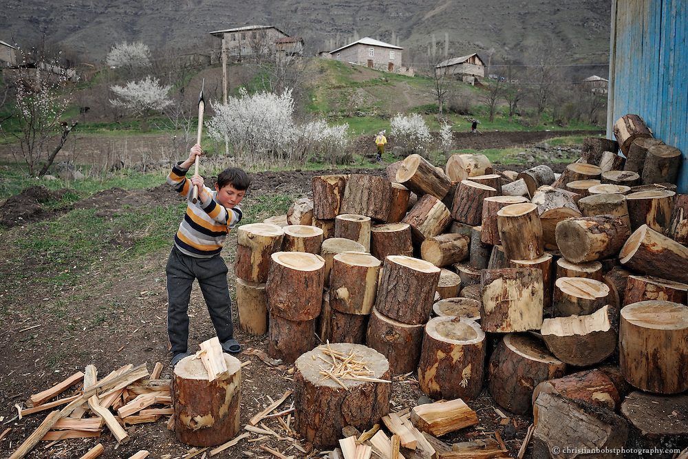A boy chops wood at his families farm in Mirashkhani.
