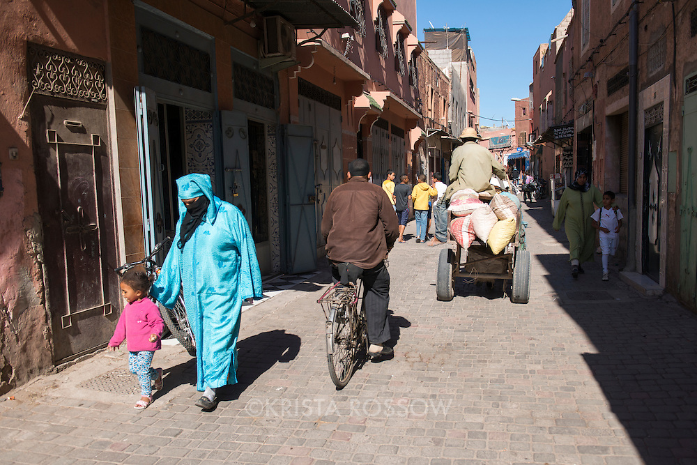 A typical street scene in the Medina of Marrakesh, Morocco.