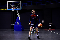 Jordan Nicholls of Bristol Flyers prepares in the warm up area prior to tip off - Photo mandatory by-line: Ryan Hiscott/JMP - 26/01/2020 - BASKETBALL - Arena Birmingham - Birmingham, England - Bristol Flyers v Worcester Wolves - British Basketball League Cup Final