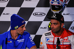 May 17, 2018 - Le Mans, France, France - Andrea Iannone and Danilo Petrucci attends a press conference of France MotoGP at Circuit Bugatti Le Mans. (Credit Image: © Gaetano Piazzolla/Pacific Press via ZUMA Wire)