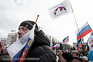 Ukraine, Donetsk. Pro-Russia supporters gather and wave Russian flags in Lenin Square in Donetsk. ALESSIO ROMENZI