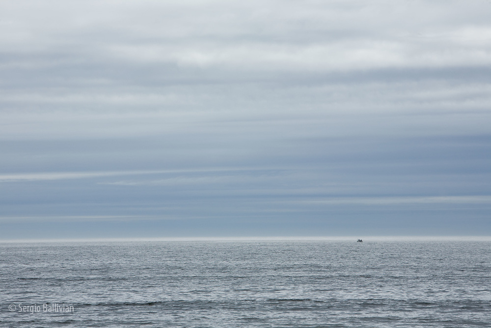 West Coast Trail - Day 1. Fishermen on the Pacific Ocean near Bamfield, B.C..
