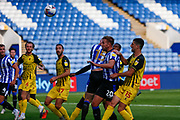Sheffield Wednesday FC Defender and Vice-Captain Tom Lees (15) headed effort at goal goes wide during the EFL Sky Bet Championship match between Sheffield Wednesday and Watford at Hillsborough, Sheffield, England on 19 September 2020.