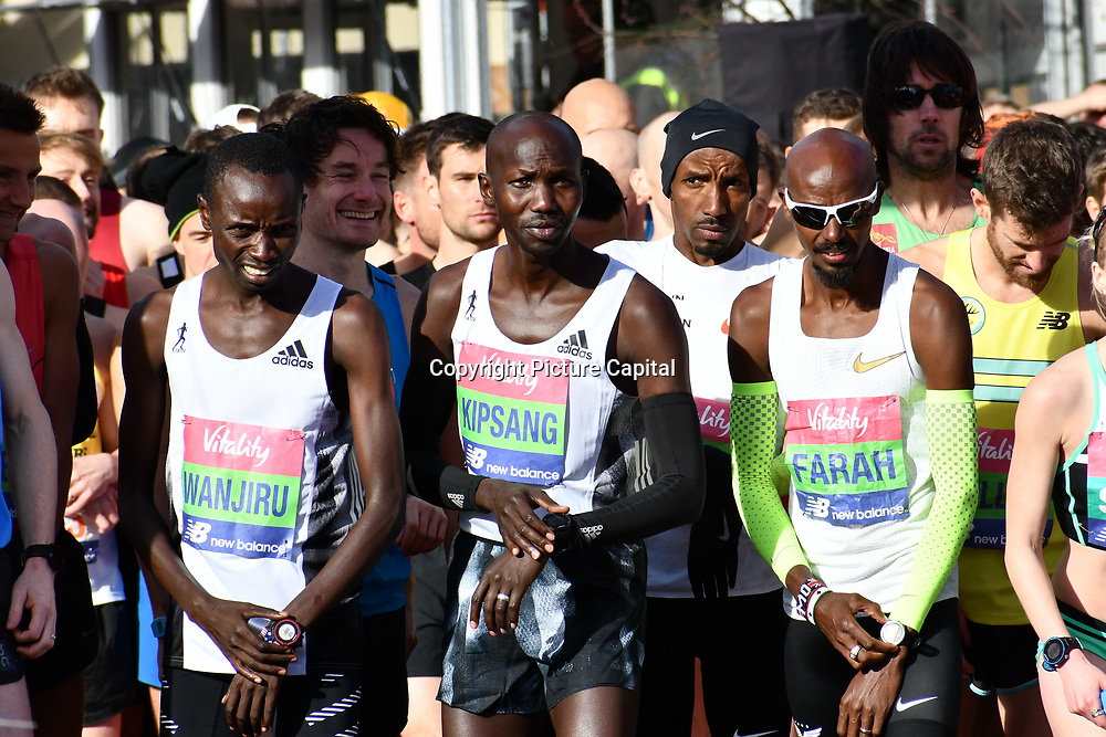 Daniel Wanjuri,Wilson Kipsang and Mo Farah at the elite race start men and women at The Vitality Big Half 2019 on 10 March 2019, London, UK.