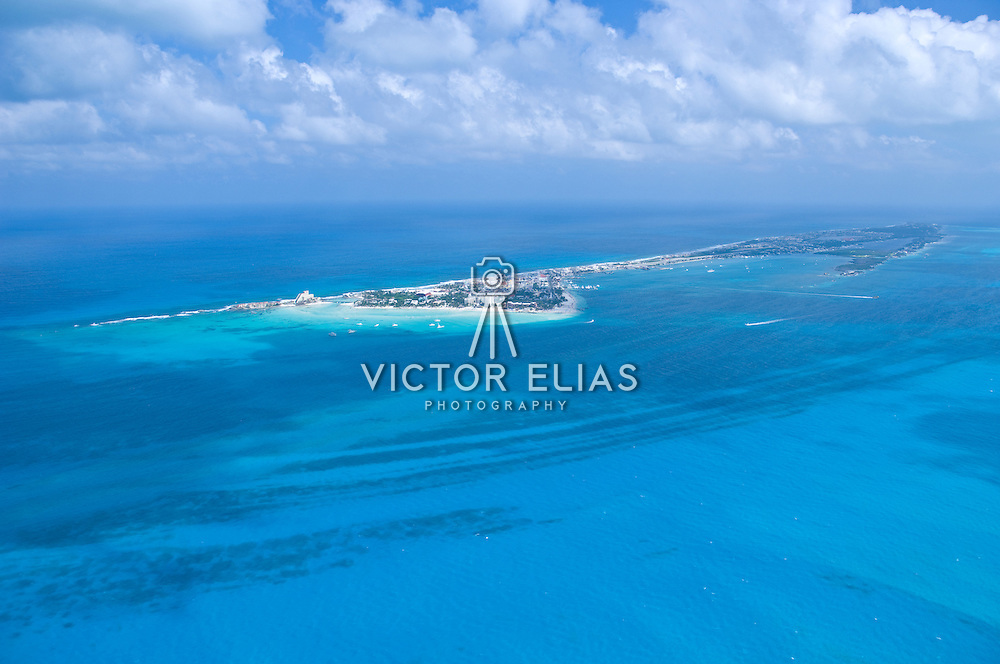 Aerial view of Playa Norte and the hotel zone.<br /> Isla Mujeres, Quintana Roo. Mexico.