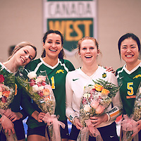 5th years of the Regina Cougars during the Women's Volleyball home game on Sat Jan 26 at Centre for Kinesiology, Health & Sport. Credit: Arthur Ward/Arthur Images