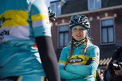 Sarah Olsson chats with her INPA Bianchi teammates ahead of the start in Dwingeloo - Drentse 8, a 140km road race starting and finishing in Dwingeloo, on March 13, 2016 in Drenthe, Netherlands.