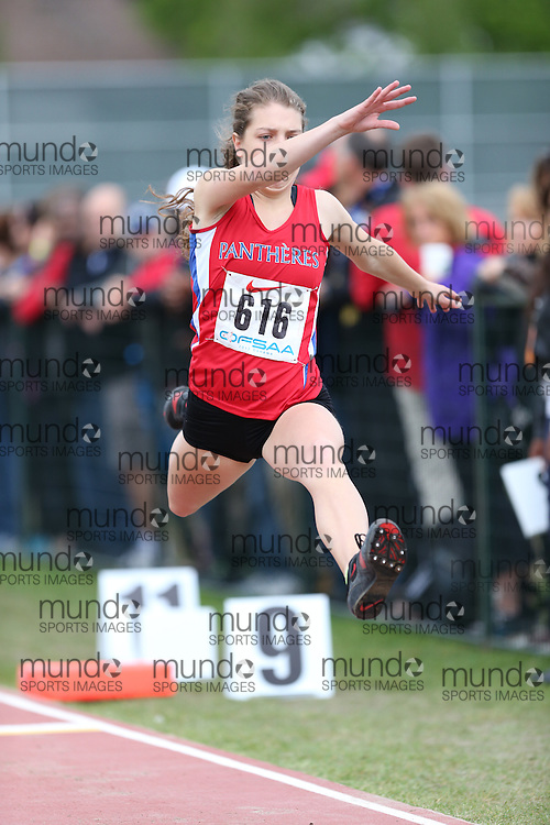 Zvia Mazal of ES Macdonald-Cartier - Sudbury competes in the senior girls triple jump at the 2013 OFSAA Track and Field Championship in Oshawa Ontario, Thursday,  June 6, 2013.<br /> Mundo Sport Images / Sean Burges