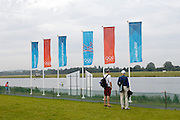 UK, August 1 2012: Olympic Flags flutter at the London 2012 Rowing venue at Eton Dorney.  Copyright 2012 Peter Horrell.