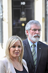 © Licensed to London News Pictures. 15/06/2017. London, UK. (L to R) Michelle O'Neill, leader of Sinn Féin, Gerry Adams, President, in a press conference outside Number 10.  Members of the Northern Ireland Assembly visit Downing Street for talks with Prime Minister Theresa May following the results of the General Election.  The Conservatives are seeking to work with the Democratic Unionist Party in order to form a minority government. Photo credit : Stephen Chung/LNP