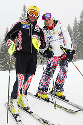Ivica Kostelic with sister Janica Kostelic of Croatia during last race of Andrej Jerman, Slovenian best downhill skier when he finished his professional alpine ski career on April 6, 2013 in Krvavec Ski resort, Slovenia. (Photo By Vid Ponikvar / Sportida)