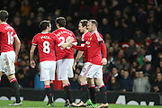 Wayne Rooney of Manchester United celebrates after his goal during the Barclays Premier League match between Manchester United and Stoke City at Old Trafford, Manchester, England on 2 February 2016. Photo by Phil Duncan.