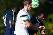 Rice's Clayton Scott (14) heads the ball during the boys soccer game between the The Burlington Seahorses and the Rice Green Knights at Rice Memorial high School on Tuesday afternoon September 15, 2015 in South Burlington, Vermont. (BRIAN JENKINS/for the FREE PRESS)
