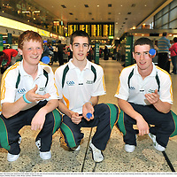 30 September 2009; The Irish team departed from Dublin Airport to the 2009 World Handball Championships which take place from 4th - 11th October in Portland, Oregon, USA. At Dublin Airport are Padraig McKenna, Truagh, Monaghan, Jamie Lynch, Kilkishen, Clare, and Diarmaid Nash, Scariff, Clare. Dublin Airport, Dublin. Picture credit: Brian Lawless / SPORTSFILE