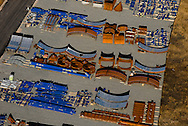 Aerial view of miscellaneous steel parts, as seen near the Port of Wilmington.  <br /> This Port is a &ldquo;load center&rdquo; for steel carriers arriving from Europe, South America, and the Far East. Aerial view of miscellaneous steel parts