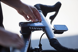 Hannah Barnes (GBR) or CANYON//SRAM Racing checks the small cheat sheet on her stem before Stage 8 of the Giro Rosa - a 141.8 km road race, between Baronissi and Centola fraz. Palinuro on July 7, 2017, in Salerno, Italy. (Photo by Balint Hamvas/Velofocus.com)