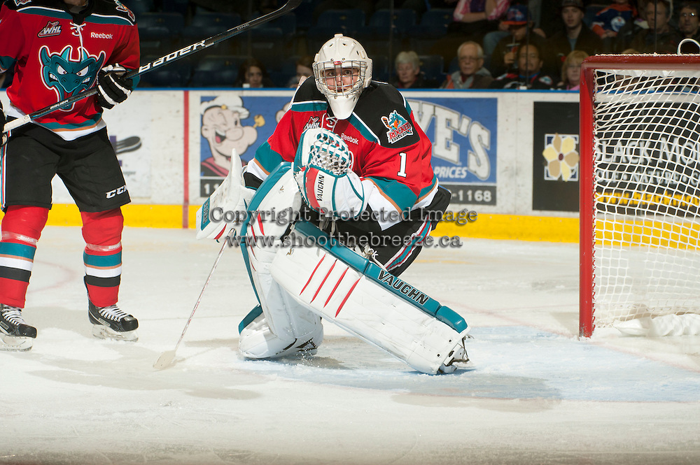 KELOWNA, CANADA - NOVEMBER 7:  Jackson Whistle #1 of the Kelowna Rockets defends the net against the Edmonton Oil Kings at the Kelowna Rockets on November 7, 2012 at Prospera Place in Kelowna, British Columbia, Canada (Photo by Marissa Baecker/Shoot the Breeze) *** Local Caption ***
