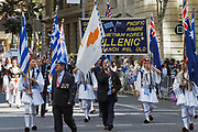 Greek Hellenic RSL branch marching during Brisbane ANZAC day 2014 parade