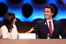 Handout photo - Paris Mayor Anne Hidalgo and Paris 2024 Bid Co-Chair and 3-time Olympic Champion Tony Estanguet during the Olympic and Paralympic Games 2024 host city election, Lima, Peru, September 13, 2017. Photo by Paris 2024/ABACAPRESS.COM