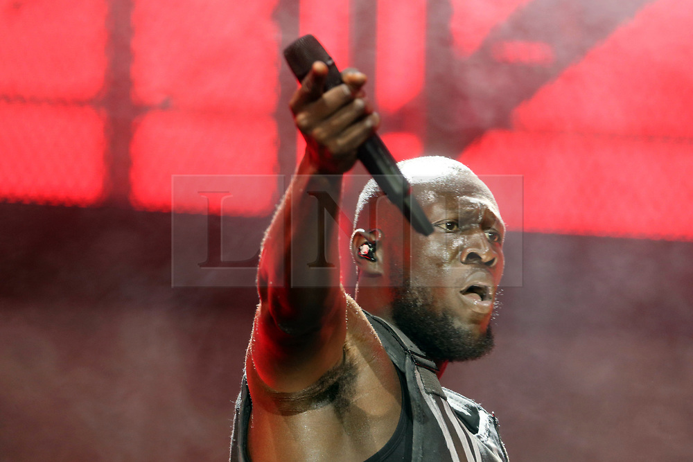 © Licensed to London News Pictures. 28/06/2019. Glastonbury , UK. British rap artist Stormzy performs on the main stage at Glastonbury Festival in Somerset. Photo credit: Jason Bryant/LNP
