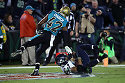 Seattle Seahawks wide receiver Doug Baldwin (89) catches a 26 yard touchdown pass that ties the third quarter score at 10-10 while covered in the end zone by Jacksonville Jaguars strong safety Barry Church (42) during the 2017 NFL week 14 regular season football game against the Jacksonville Jaguars, Sunday, Dec. 10, 2017 in Jacksonville, Fla. The Jaguars won the game 30-24. (©Paul Anthony Spinelli)