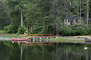 A dock and swimming platform along the shore of St. Mary Lake on Salt Spring Island, British Columbia, Canada