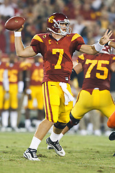 September 11, 2010; Los Angeles, CA, USA;  Southern California Trojans quarterback Matt Barkley (7) throws a pass against the Virginia Cavaliers during the fourth quarter at the Los Angeles Memorial Coliseum. USC defeated Virginia 17-14.