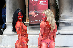 """Painted to resemble bloodied and skinnned people, three models representing PETA converged outside the opening of the """"Herme's Leather Forever"""" exhibition at the Royal Academy of Arts at Burlington Gardens on Tuesday 08th May, 2012. They held signs reading """"Herme's, Bag Cruelty: Ditch Leather.  While other PETA members handed out leaflets to passers by. Photo By Chris Joseph/i-Images"""