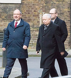 Downing Street, London, March 23rd 2017. Polish conservative Law and Justice Party leader and Eurosceptic Jaroslaw Kaczynski, (C) arrives at 10 Downing Street for talks with British Prime Minister Theresa May.