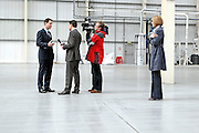 13/04/2010 Liberal Democrat Nick Clegg conducting a television interview whilst on a visit to 2K Manufacturing, Luton.