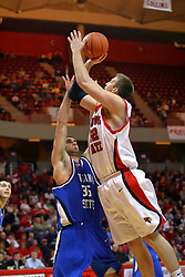 06 January 2007: Levi Dyer leans in for a short shot against Trent Wurtz. The Sycamores of Indiana State University topped the Redbirds home 54 - 50 inside Redbird Arena in Normal Illinois on the campus of Illinois State University.<br />