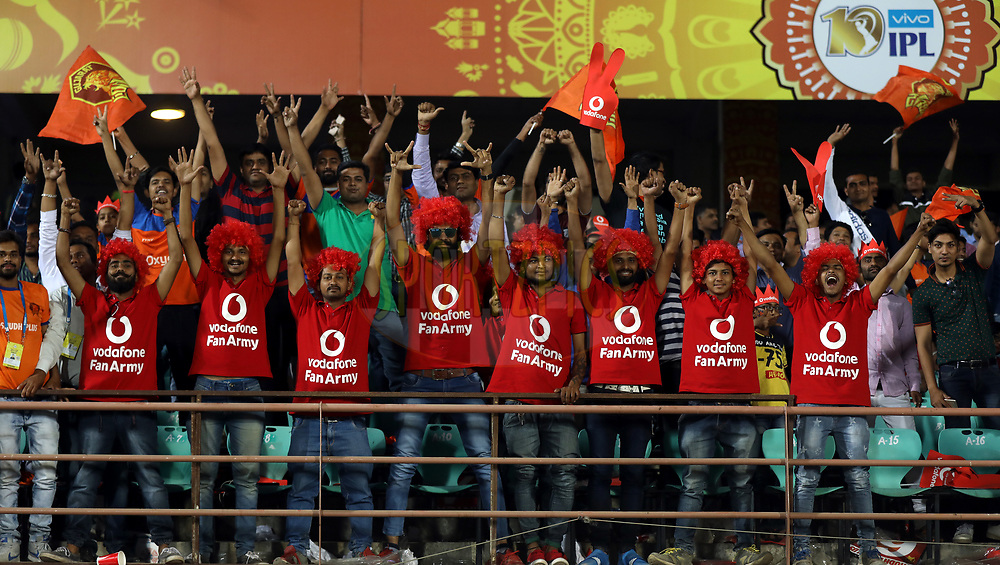 Vodafone Fan Army during match 3 of the Vivo 2017 Indian Premier League between the Gujarat Lions and the Kolkata Knight Riders held at the Saurashtra Cricket Association Stadium in Rajkot, India on the 7th April 2017<br /> <br /> Photo by Sandeep Shetty - IPL - Sportzpics