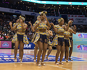 """The JCSU LUV-A-BULLS performed an African themed cheer routine for the CIAA Cheerleading Exhibition during McDonald's Super Saturday. It was reminiscent of the dance number from """"Coming to America"""""""