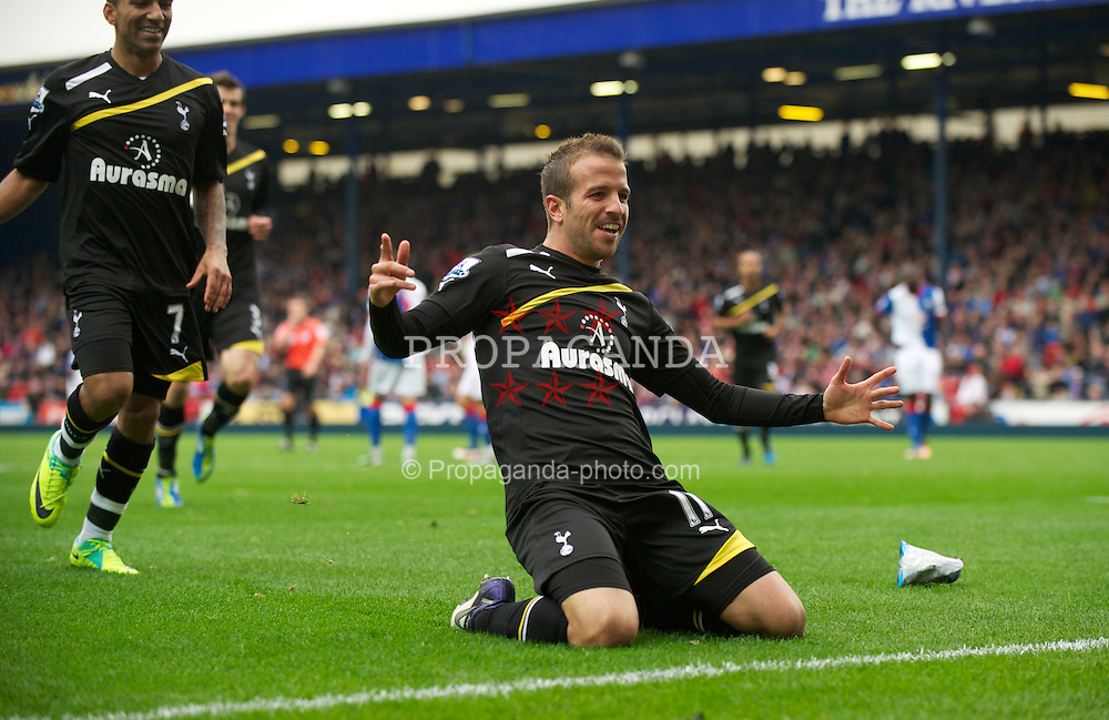 BLACKBURN, ENGLAND - Sunday, October 23, 2011: Tottenham Hotspur's Rafael Van Der Vaart celebrates scoring the second goal against Blackburn Rovers during the Premiership match at Ewood Park. (Pic by David Rawcliffe/Propaganda)