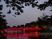 23 DECEMBER 2017 - HANOI, VIETNAM: The foot bridge to the Temple of the Jade Mountain (Ngoc Son Temple) in Hoan Kiem Lake in Hanoi.       PHOTO BY JACK KURTZ