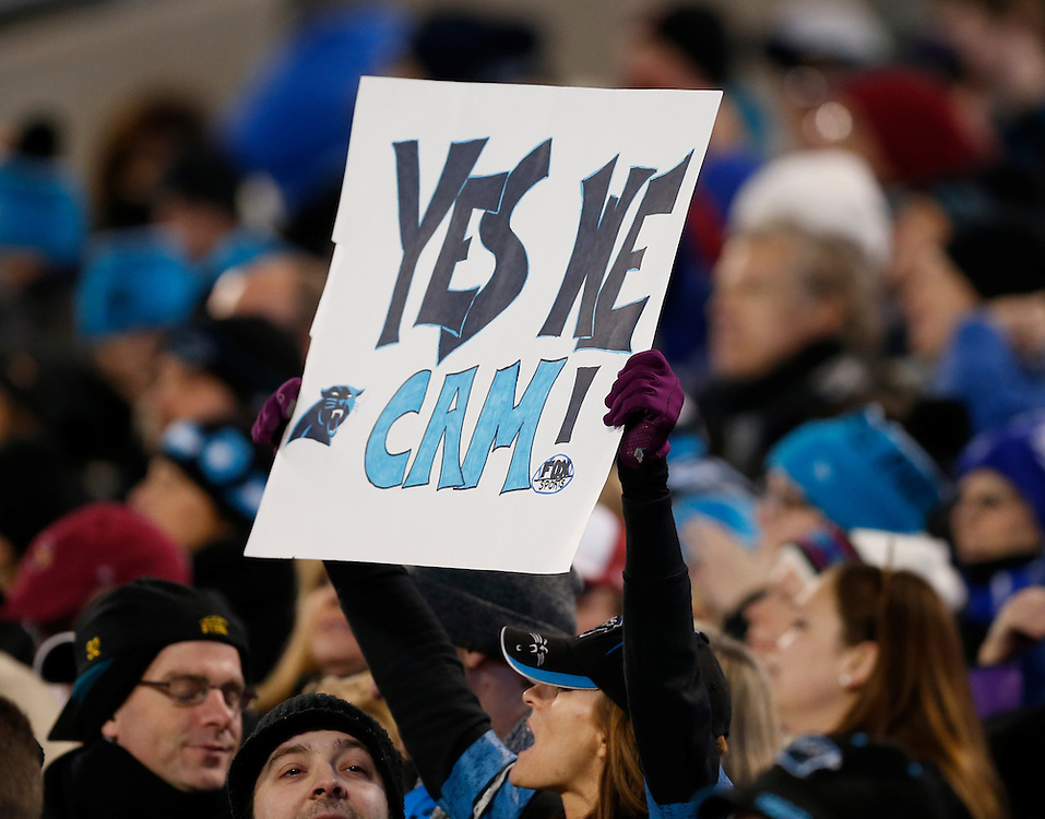CHARLOTTE, NC - JAN 24:  A fan holds a sign during the NFC Championship game between the Arizona Cardinals and the Carolina Panthers at Bank of America Stadium on January 24, 2016 in Charlotte, North Carolina.