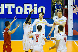 09.01.2016, Max Schmeling Halle, Berlin, GER, CEV Olympia Qualifikation, Frankreich vs Polen, im Bild Earvin Ngapeth (#9, FRA), Kevin Tillie (#7, FRA), Kevin le Roux (#10, FRA) // during 2016 CEV Volleyball European Olympic Qualification Match between France and Poland at the Max Schmeling Halle in Berlin, Germany on 2016/01/09. EXPA Pictures © 2016, PhotoCredit: EXPA/ Eibner-Pressefoto/ Wuechner<br /> <br /> *****ATTENTION - OUT of GER*****