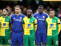 Robbie Brady, Youssuf Mulumbu and Martin Olsson of Norwich City and Branislav Ivanovic and Kurt Zouma of Chelsea stand for the French National Anthem to remember those who died in the Paris Attacks - Mandatory byline: Robbie Stephenson/JMP - 07966 386802 - 21/11/2015 - FOOTBALL - Stamford Bridge - London, England - Chelsea v Norwich City - Barclays Premier League