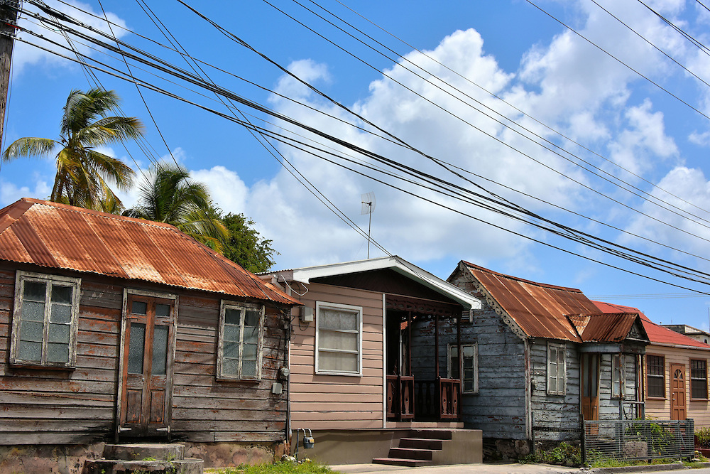 Row of Small Wooden Houses in Bridgetown, Barbados<br />