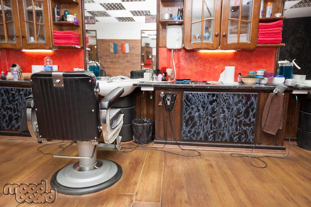 Empty chair at hair salon
