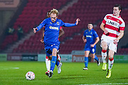 AFC Wimbledon midfielder Mitch Pinnock (11) takes a shot during the The FA Cup match between Doncaster Rovers and AFC Wimbledon at the Keepmoat Stadium, Doncaster, England on 19 November 2019.