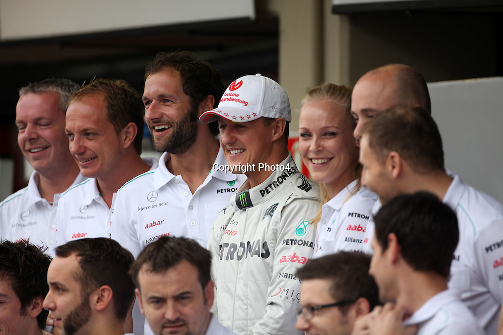 &copy; Photo4 / LaPresse<br /> 25/11/2012 Sao Paulo, Brazil<br /> Sport <br /> Brazilian Grand Prix, Sao Paulo 22-25 November 2012<br /> In the pic: Mercedes Team photograph, Michael Schumacher (GER) Mercedes AMG F1 W03