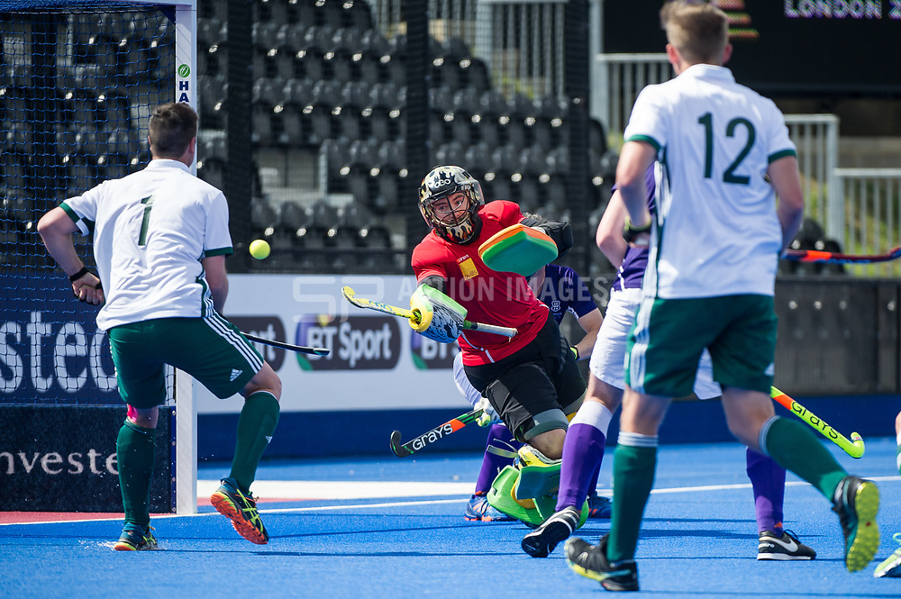 Sevenoaks' Richard Potton is beaten by a Canterbury penalty corner. Canterbury v Sevenoaks - Men's Hockey League Finals, Lee Valley Hockey & Tennis Centre, London, UK on 23 April 2017. Photo: Simon Parker