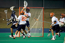 Virginia Cavaliers G Adam Ghitelman (35) makes a save.  ..The Virginia Cavaliers men's lacrosse team faced the Georgetown Hoyas in a Fall Ball Scrimmage held at the University Hall Turf Field in Charlottesville, VA on October 12, 2007.