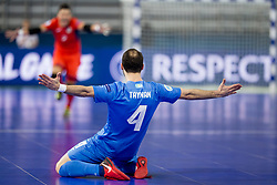 Taynan of Kazakhstan celebrates goal during futsal match between Poland and Kazakhstan at Day 3 of UEFA Futsal EURO 2018, on February 1, 2018 in Arena Stozice, Ljubljana, Slovenia. Photo by Urban Urbanc / Sportida