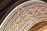 Moroccan zellije mosaic wall / doorway tiling, Bahia Palace, Marrakesh, Morocco, 2017-11-17.